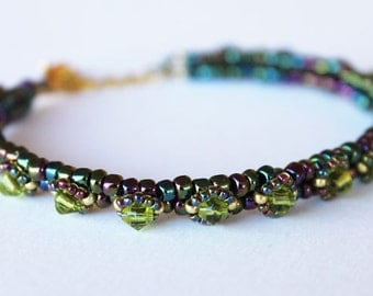 Thin bracelet blue and green