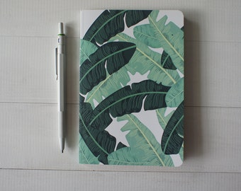 Tropical leaf Notebook, Tropical Pattern book, Christmas gift under 10, Mini Pocket Journal, Tropic stationary, Banana leaf Blank Paper book