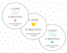 A baby is brewing stickers - Baby shower stickers - Baby shower tea party favors - Baby shower thank you stickers (RW018)