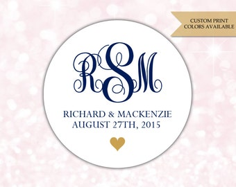 Wedding monogram stickers - Wedding envelope seals - Monogram stickers - Monogram labels (RW046)