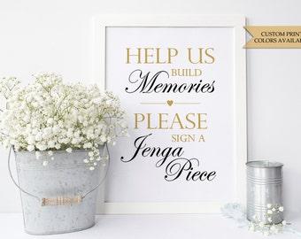 "Jenga wedding sign 8x10"" - Jenga guest book sign - Wedding Jenga - Wedding guest book alternative"