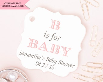Alphabet baby shower tags (30) - Baby shower tags - B is for baby - Personalized baby shower tags - Baby shower thank you tags