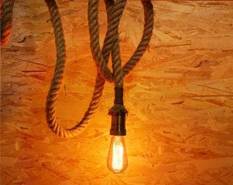 Rope Edison lamp - E27 - edison bulb hanging Light - ceiling lamp - edison bulb - industrial lighting - rustic rope
