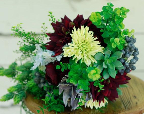 Silk Wedding Flowers In Maryland : Silk succulent wedding burgundy bouquet autumn winter