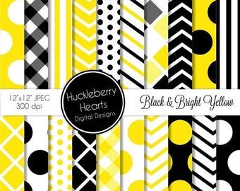 80% OFF SALE Black and Bright Yellow Patterns Digital Scrapbook Paper, Digital Backgrounds, DIY Printables