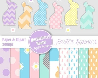 80% OFF SALE Bunny Clipart, Digital Easter Paper, Digital Bunny Paper, Easter Paper, Easter Clipart