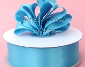 3/8 inch x 100 yards of Turquoise Double Face Satin Ribbon