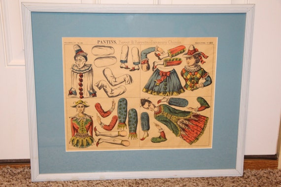1800s French Jointed Paper Doll Imagerie d'Epinal Pantins Jointed Dancing Jack Puppet Paper Dolls Uncut Framed