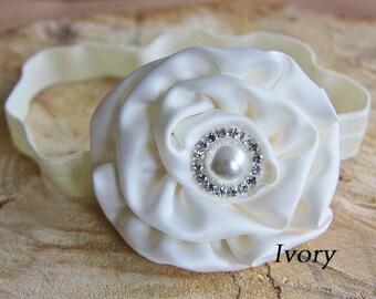 Ivory Soft Satin Flower Rhinestone Elastic Headband Baby Girl Christening Wedding