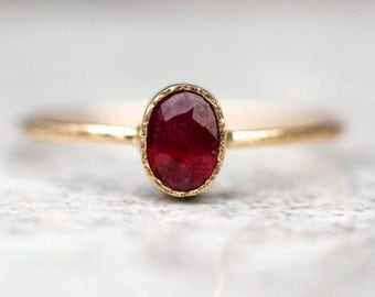 Ruby ring in 14k gold, july birthstone