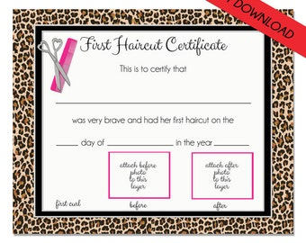 FIRST HAIRCUT CERTIFICATE Cheetah - Baby First Haircut Photo Certificate - Instant Download- psd File - diy - 8 x 10 High Quality 300 dpi