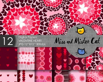 "Valentine's Day Digital papers, Scrapbook papers, commercial use, background in Jpg. 1 Pack of 12 papers model ""Valentine Hearts""."