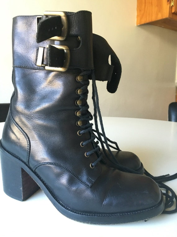 1990s charles david black leather ankle boots sz 5 5 us