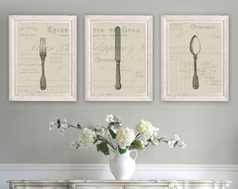 Silverware art etsy for Country dining room wall art