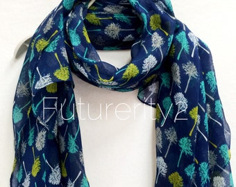 Sketched Tree Navy Blue Scarf / Spring Summer Scarf / Autumn Scarf / Accessories / Women Scarves / Gifts For Her / Handmade