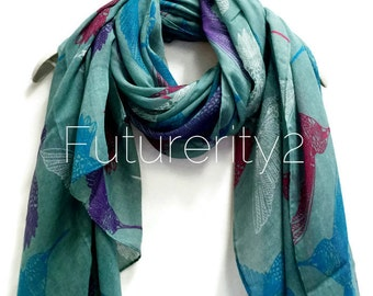 Hummingbirds Teal Green Scarf / Spring Scarf / Summer Scarf / Women Scarves / Gifts For Her / Accessories / Handmade