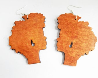 Wooden Nautral Hair Earrings
