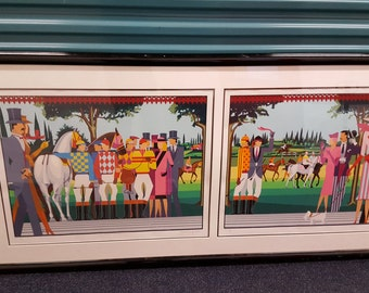 """Giancarlo Impiglia large double artwork """"A day at the races"""" I and II 1985"""
