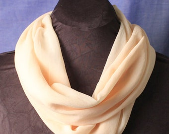 Cream-colored Chiffon Infinity Scarf