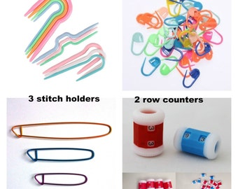 18/19 Knitting Accessories Kit - Stitch Holders, Stitch Markers, Row Counters and Cable Needles