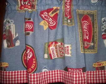 "Coca Cola Red White Blue Checked Checks curtain topper Valance apx. 42"" by 13"""