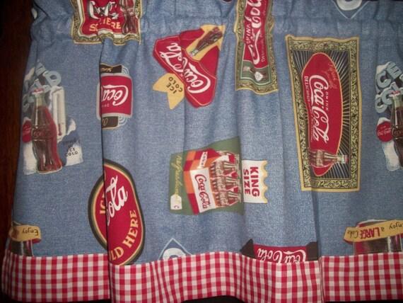 coca cola red white blue checked checks curtain topper valance