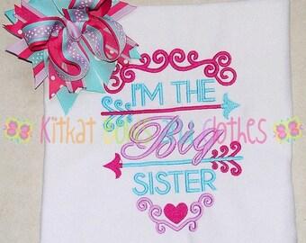O SALE Big Sister Shirt and Matching Hairbow - Birth Announcement Shirt - Sibling Shirt