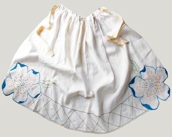 Handmade Vintage Linen Apron, Embroidered Linen Apron, Large Embroidered Half Apron