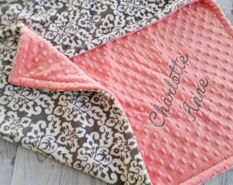 Personalized Minky Baby Blanket, Coral Baby Blanket, Lovey Blanket, Girl Baby Blanket, Damask Baby Blanket, Baby Minky Blanket