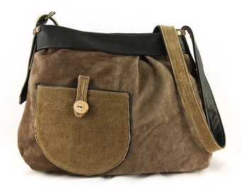 Suede bag with corduroy fabric