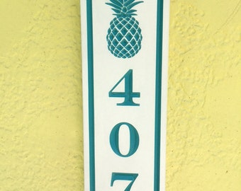 House address sign,Custom address signs,V-Carved sign with Pineapple, House number sign, beach plaque,cabin sign, personalized name plaques.