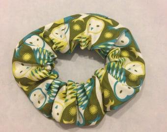 Green barn owl hair scrunchie/fabric hair tie