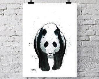 The Panda Bear art print, greetings card. Panda art, Panda print, Panda watercolor, Panda card