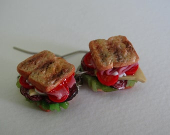 Polymer clay Sandwich earrings, Polymer clay lunch food charm, Miniature food jewelry
