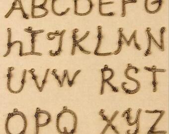 26 Alphabet Letter Charm Pendant Antique Brass Initial Charm 17mm x 31mm MT1-031