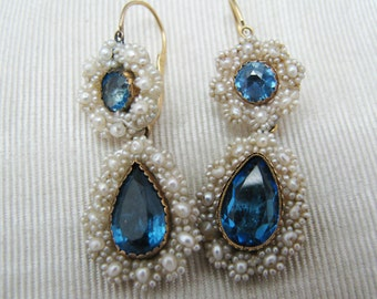 Beautiful Vintage Pierced Earrings with Blue Center Stones encircled by Pearls