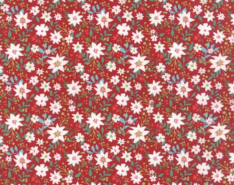 Christmas Fabric by the yard, Juniper Berry Fabric, Basic Grey, Moda Fabric, Red Floral Christmas Quilt Fabric, 30432 16