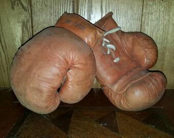 Vintage Boxing Gloves -National Full Grain Sheepskin - 8 oz