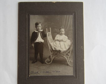 Antique Photograph of Toddler and Baby Boy Early Twentieth Century, Toddler and Baby Vintage Photo