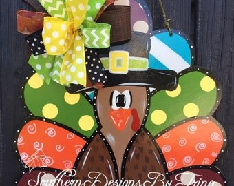 Funky Turkey wooden door hanger, fall door hanger, Thanksgiving door hanger