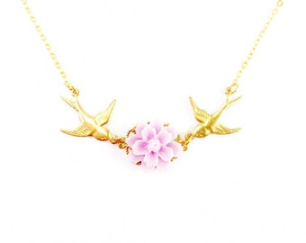 Flying Swallow Gold Necklace, Floral Gold Necklace