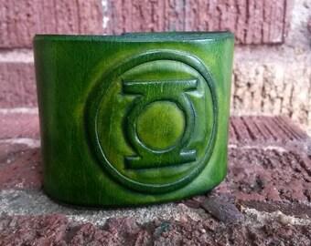 Green Superhero Leather Cuff