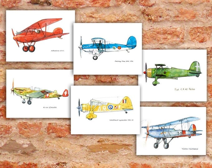 Airplane decor nursery Set 6 prints Vintage airplane watercolor Retro military aircraft poster Boy's nursery wall art Transportation