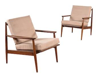 Pair of Restored Walnut Mid Century Arm Chairs