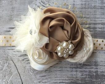 Ivory, Gold and Taupe Vintage Headband.  Baby Headband.  Hard Headband.