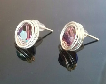 Sterling Silver and Swarovski Amethyst AB Crystals, Wire Wrapped Post Stud Earrings