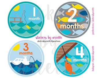 Month by Month Baby Boy Stickers - Fishing Theme