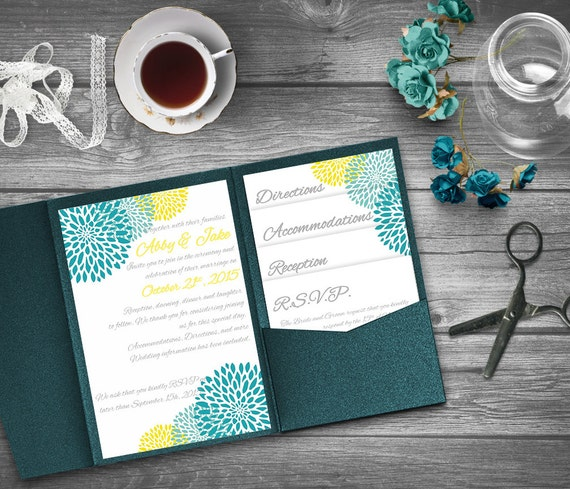 Turquoise And Yellow Wedding Invitation Template Invitation