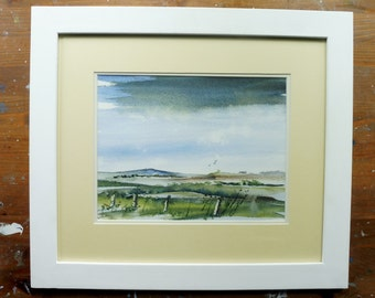 Holyhead Mountain & Fields, Anglesey. Original Watercolour Landscape Painting. Framed.