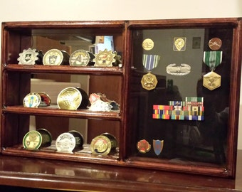 Small Military Coin Holder Shelf with Shadow Box - Free Shipping
